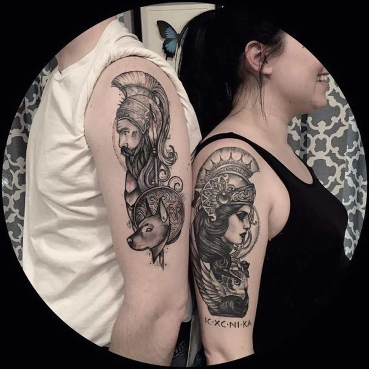 Ares and Athena couple tattoo