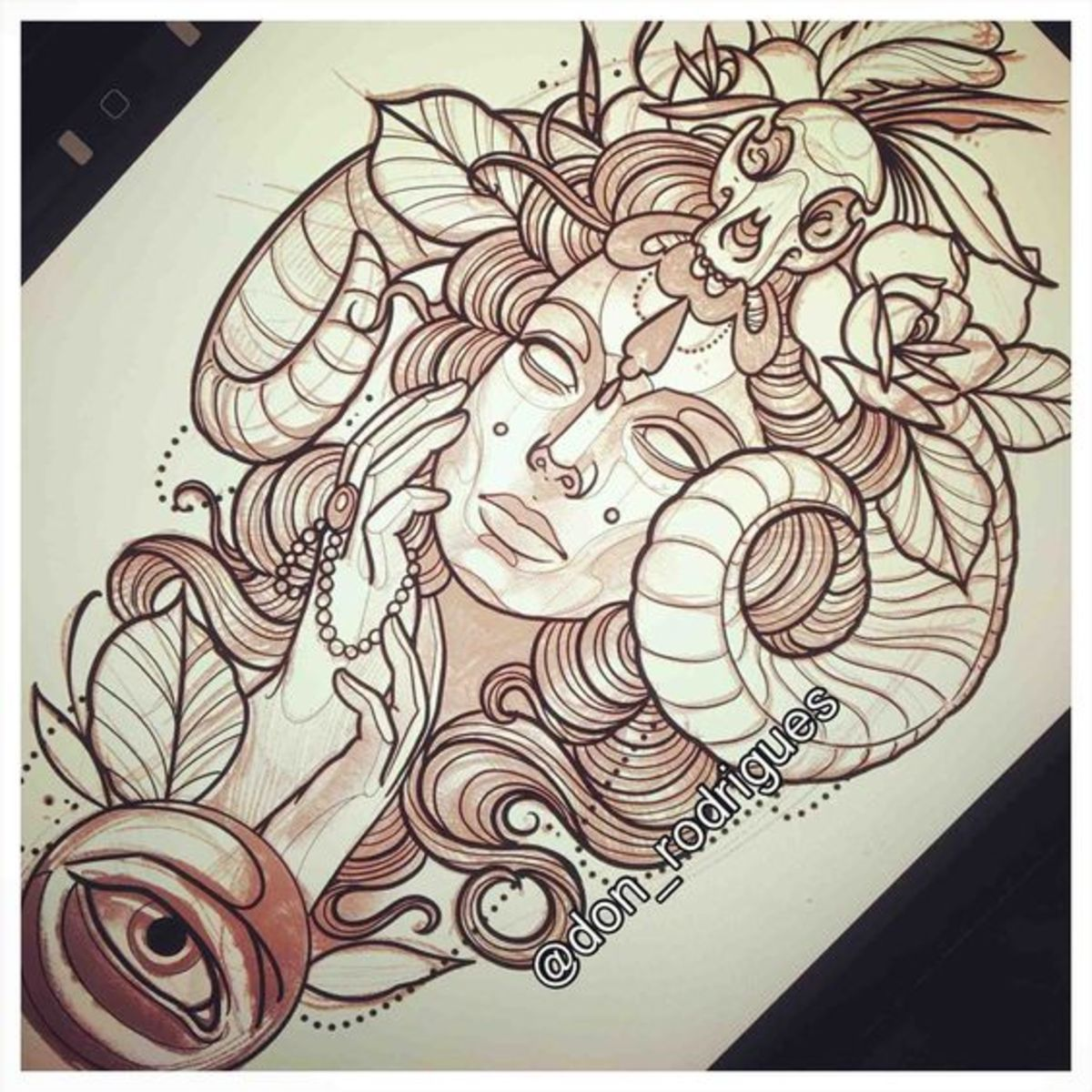 Neo traditional Aries ram tattoo sketch by Don Rodrigues