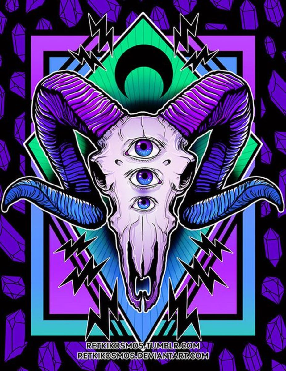 3 eyed ram skull illustration by RetkiKosmos