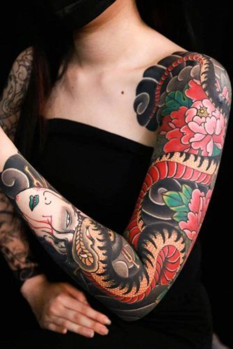 Japanese snake and namakubi (severed head) tattoo