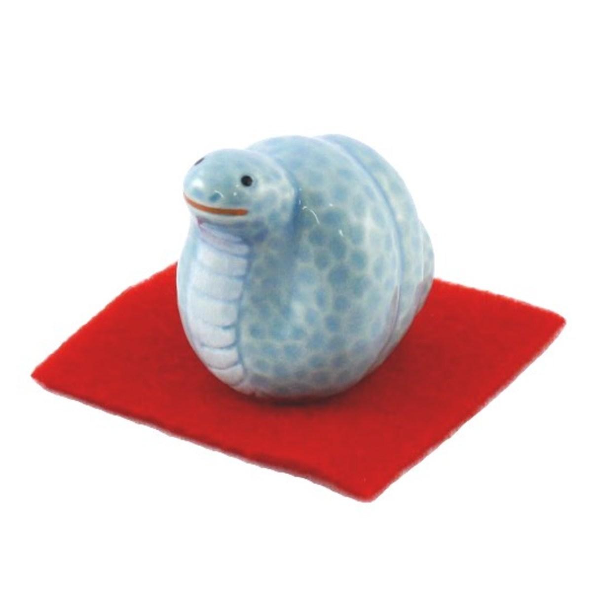 Japanese ceramic snake ornament.
