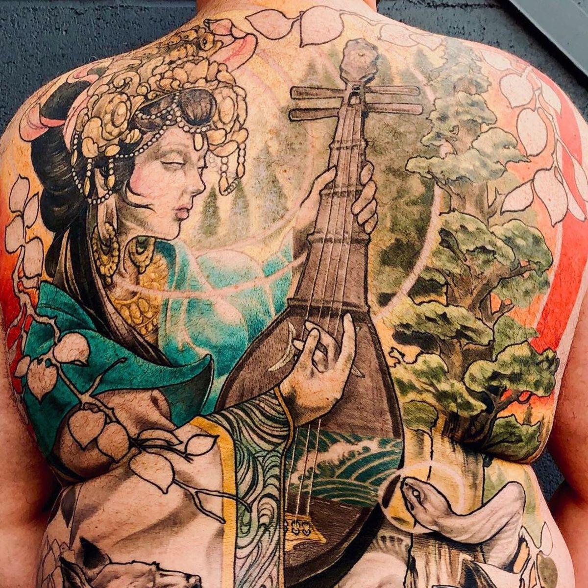 Benzaiten tattoo with white snake by Jonathan William Mattice.
