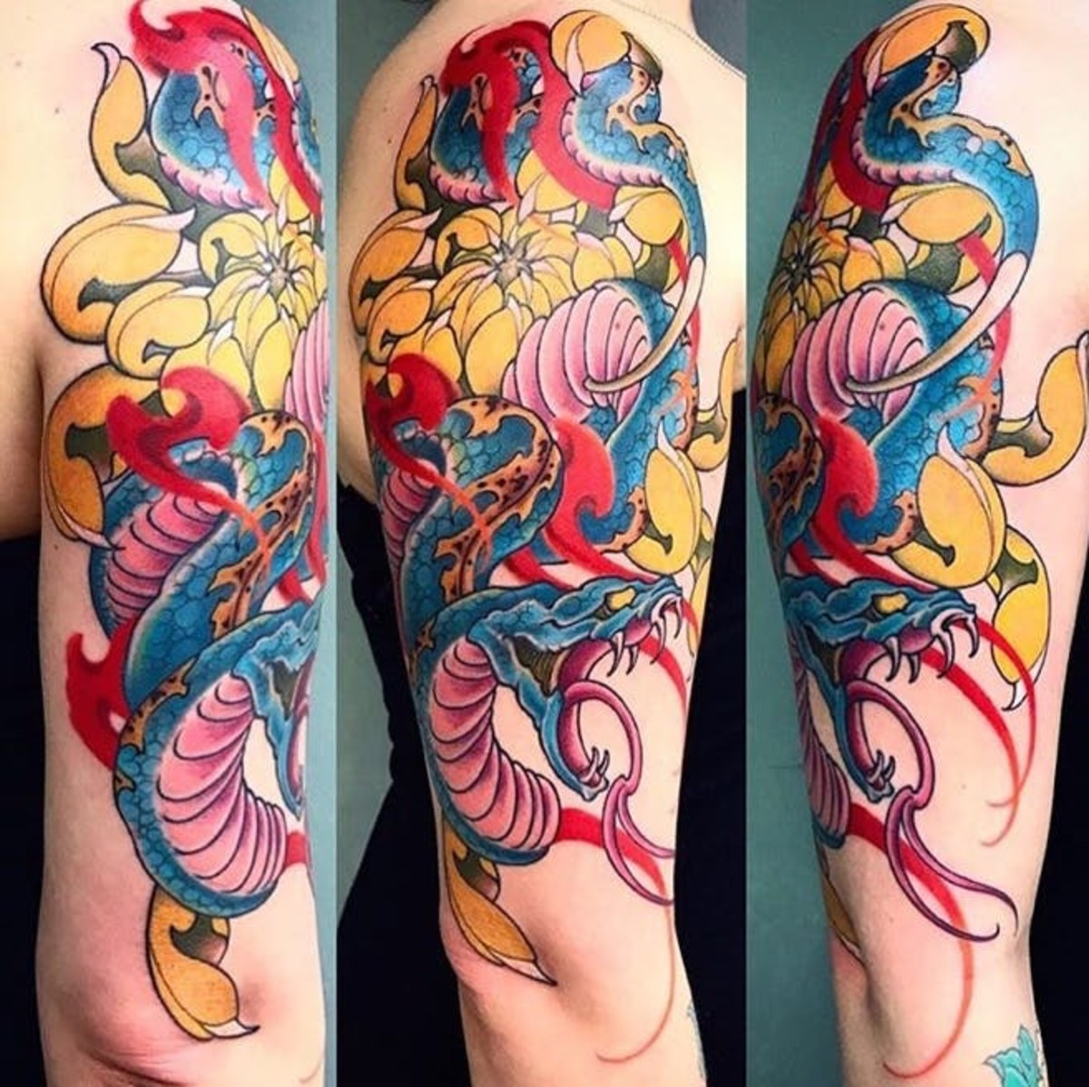 Blue serpent tattoo with kiku (Japanese Chrysanthemum), and flames