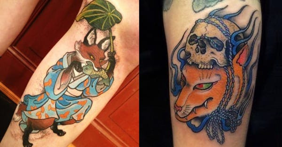 Kitsune shape shifting by placing a leaf or skull on its head. (Right: Blue kitsunebi — or fox fire — surrounds the kitsune.)