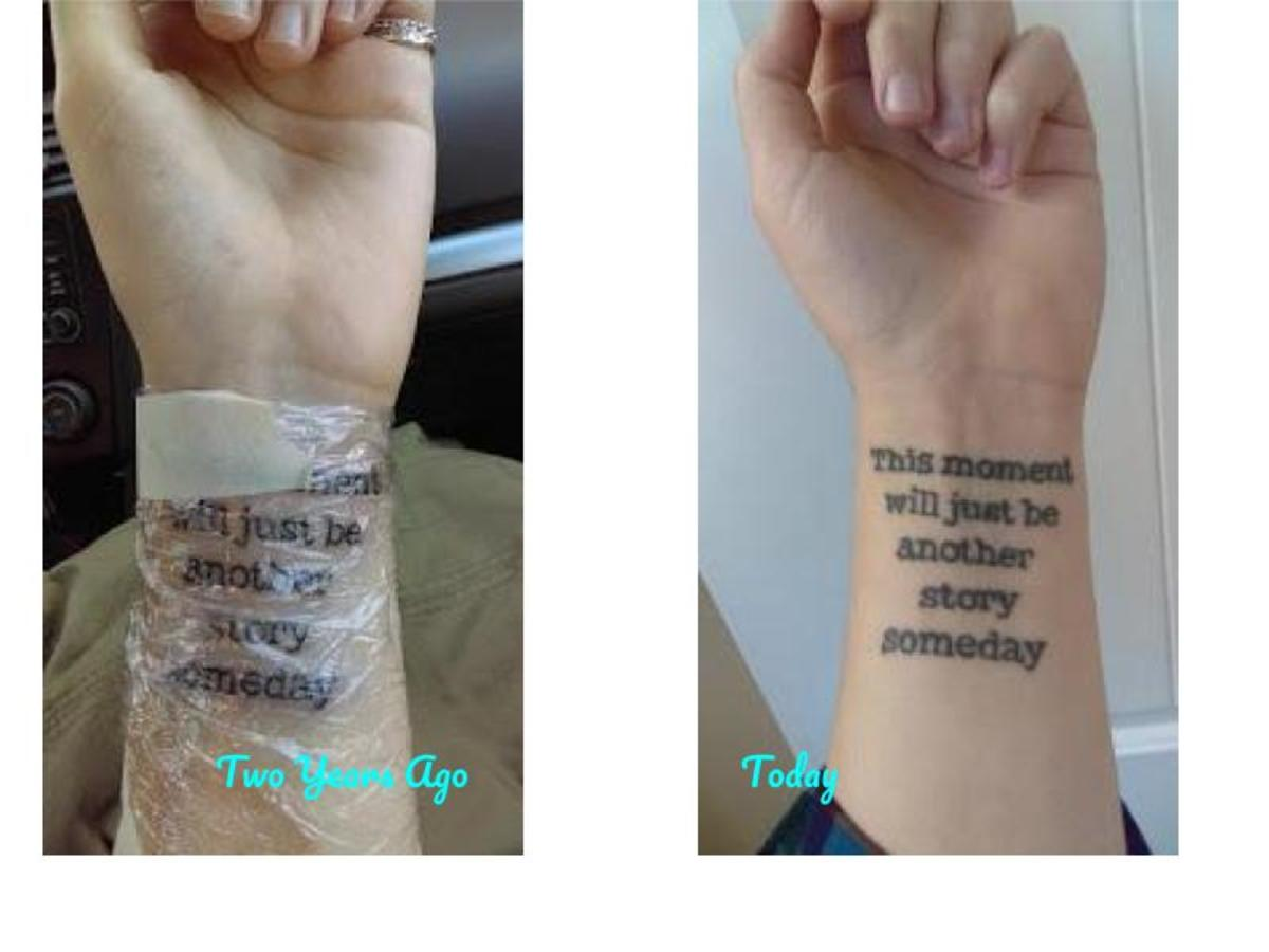 On the left is my tattoo after I'd just gotten it inked. On the right is my tattoo two years later.