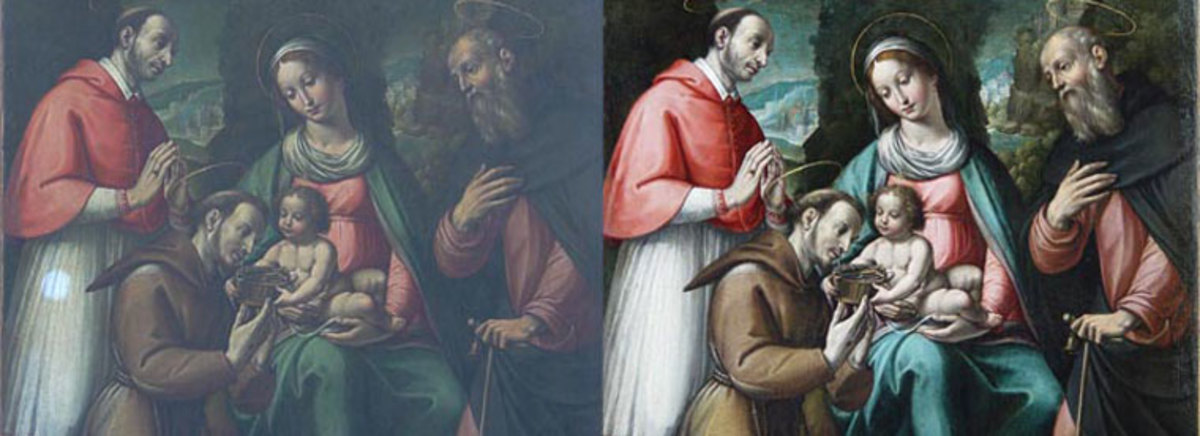 Before and after cleaning. A test was first made on the pale skirt of the Bishop on the left. (6th century oil on canvas after Masaccio - Christ's gift to St Francis – property of the Archdiocese of St Andrews & Edinburgh.)