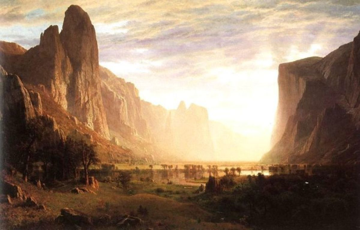 "Alfred Bierstadt, ""Looking Down Yosemite Valley, California"""