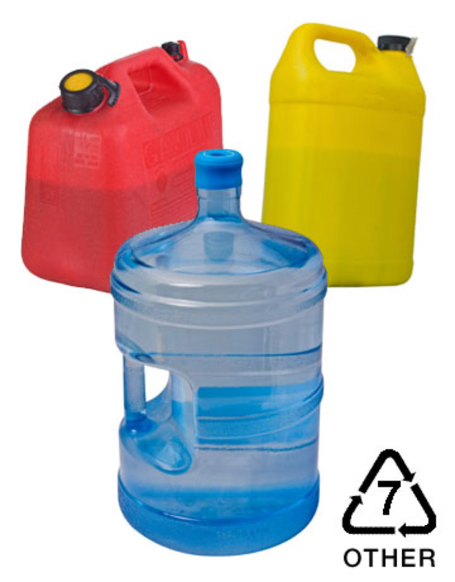 Plastic products with the number 7 recycling code.