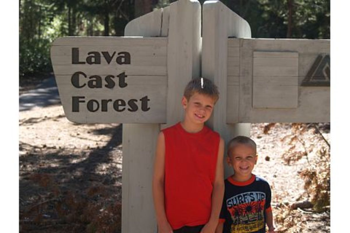 Two of my boys at the entrance to the Lava Cast Forest park in Central Oregon