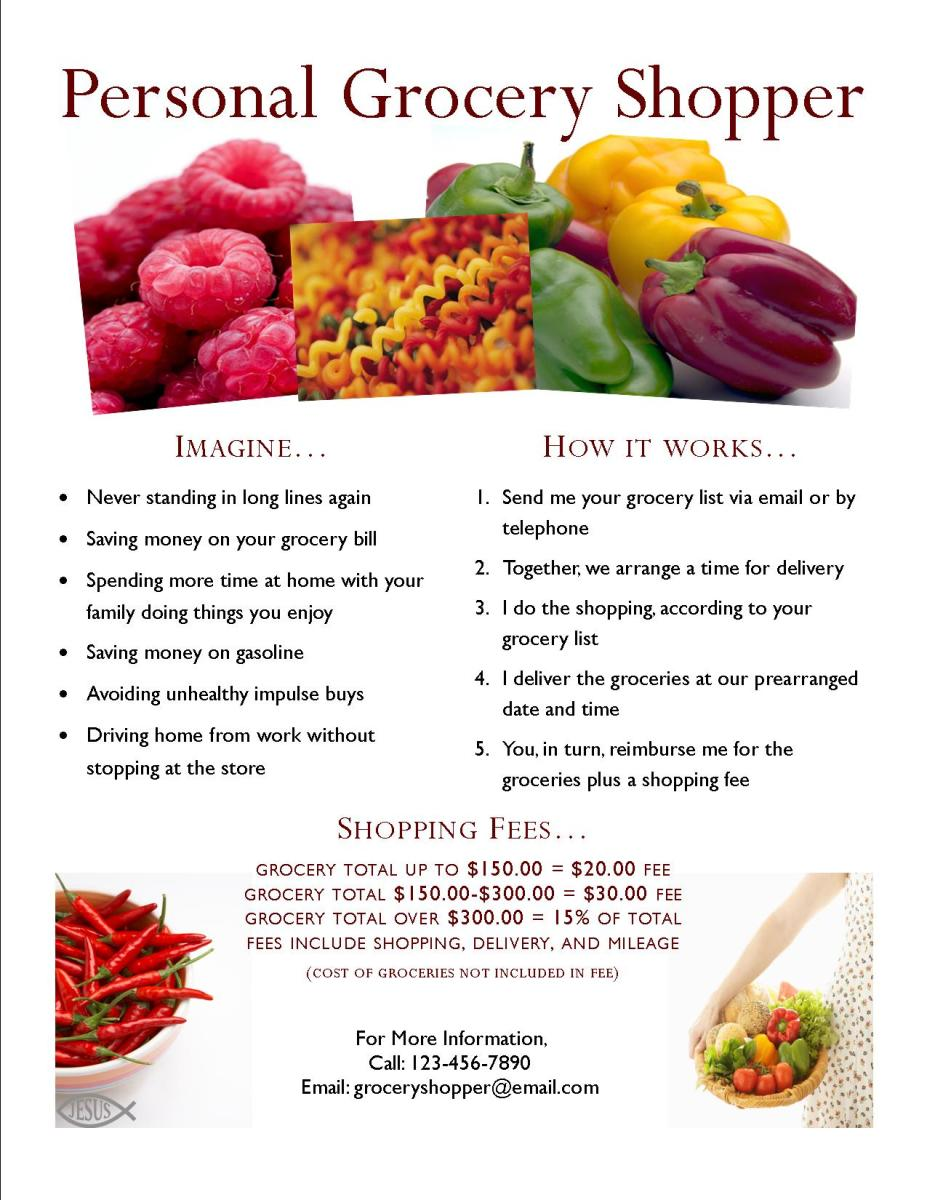 This flyer is eyecatching and includes pertinent information about the personal grocery shopping business