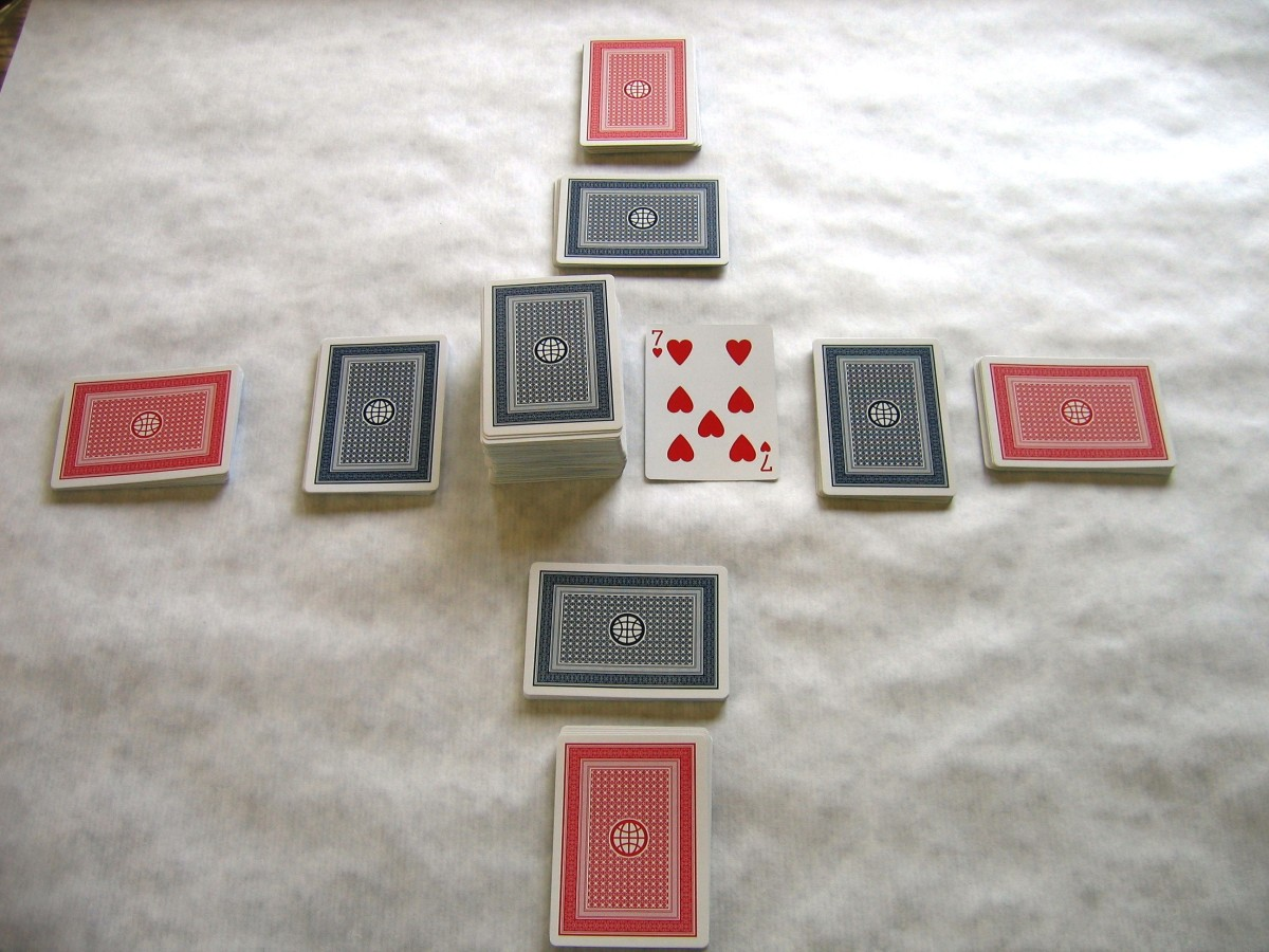 Canasta setup: Front hands in red, back hands in blue. The pick-up and discard piles are in the center. Players may only look at their front hand cards first, and may not look at the back hand until they have played through the front hand.