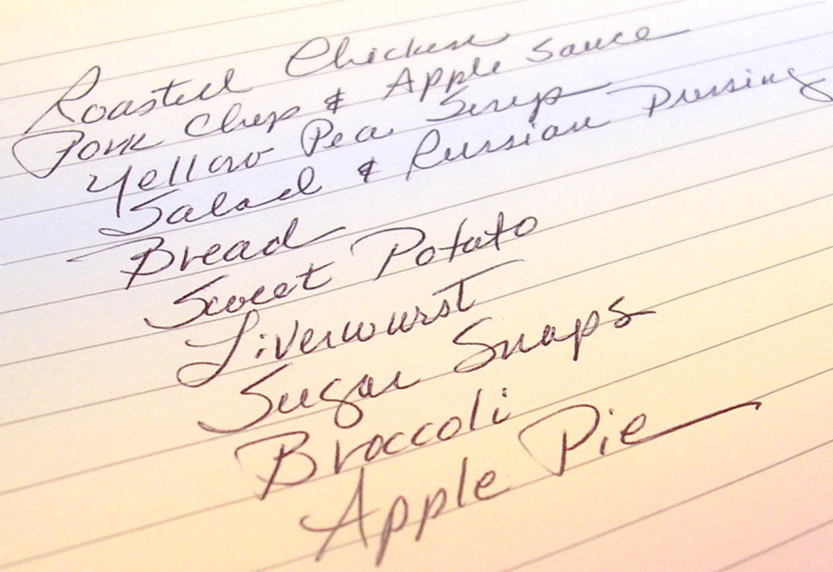 These are some of the foods I like to eat. Make sure your grocery list contains only the foods you like.
