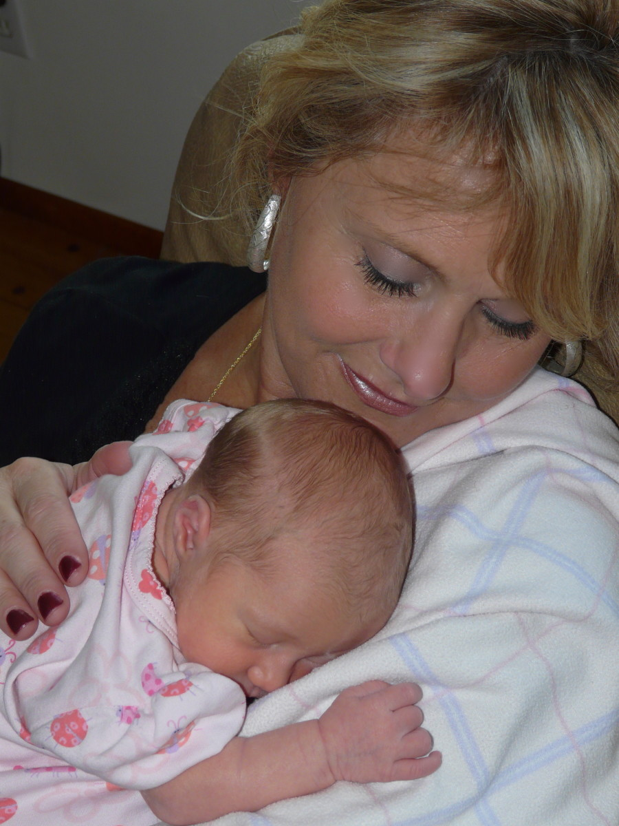 This is Lilly, one of my sweet granddaughters, on her 5th day of life!