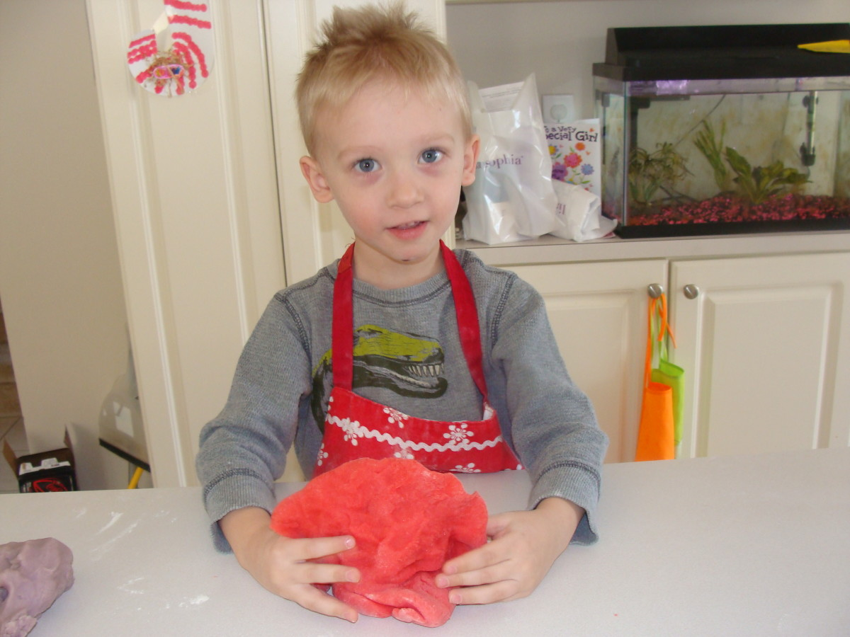 Making a dinosaur out of our Jello play-dough!