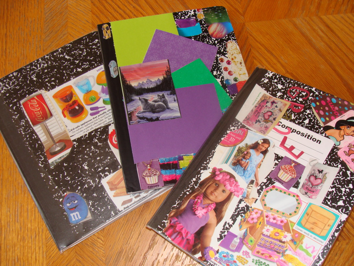 Examples of writer's notebooks and journals decorated by kids.
