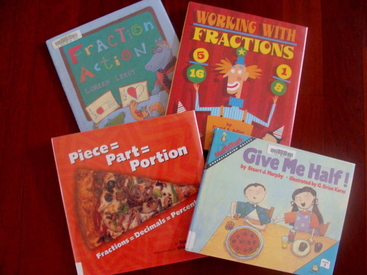 A selection of fraction books for kids.