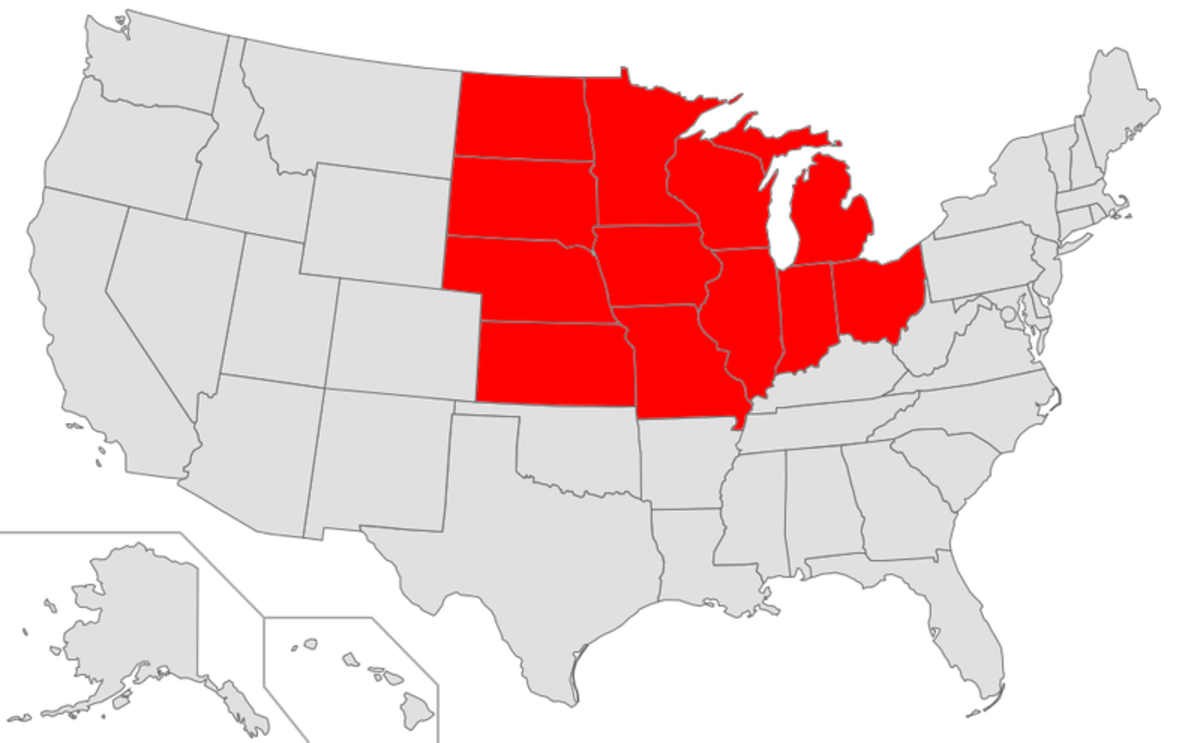 A map of the Midwestern United States.
