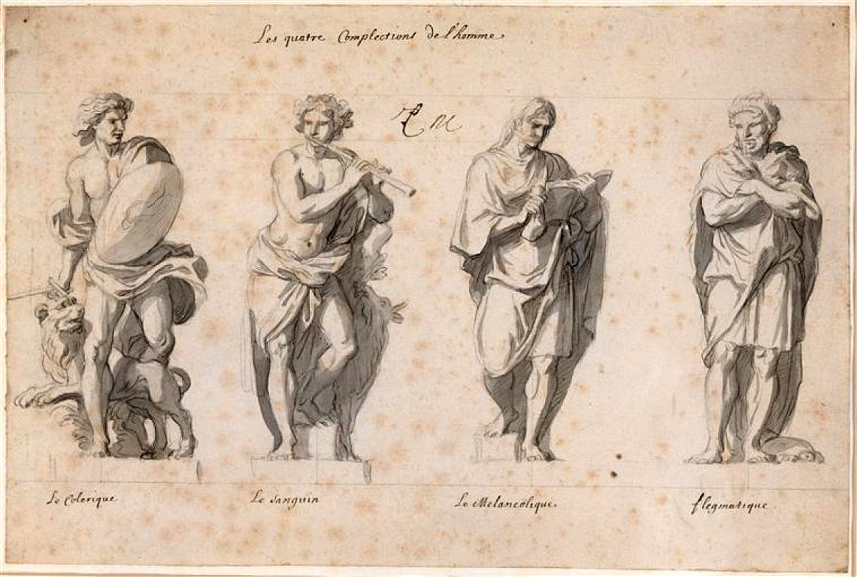 Choleric, sanguine, melancholic, and phlegmatic temperaments: 17c., part of the Grande Commande.