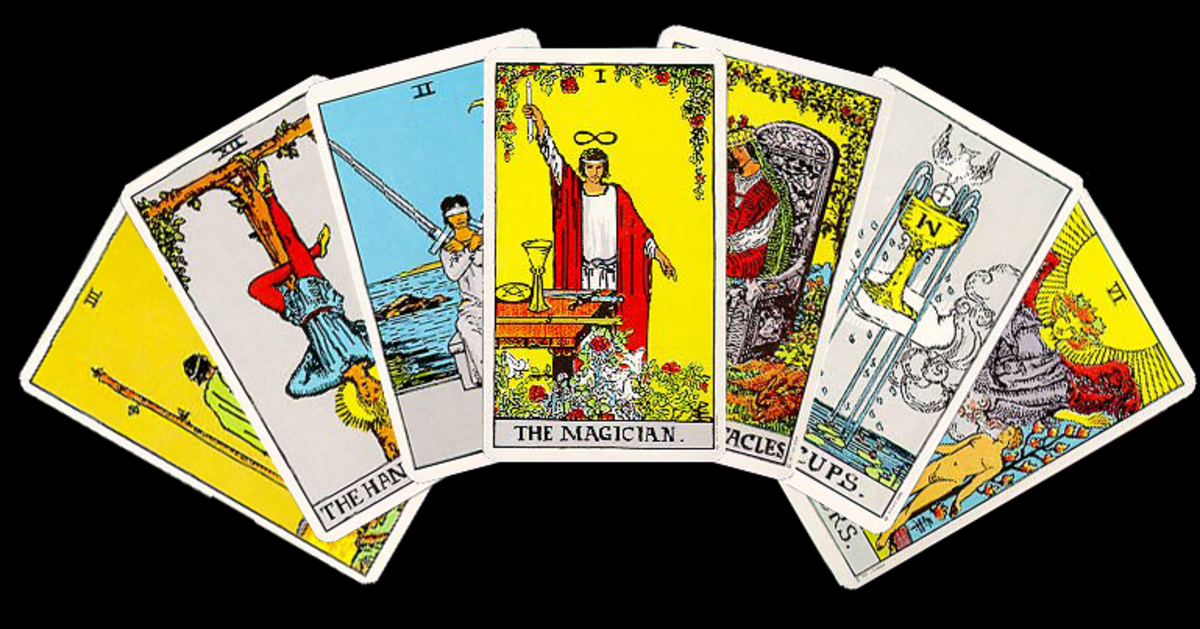 spread of several cards from the Rider Waite Smith Deck