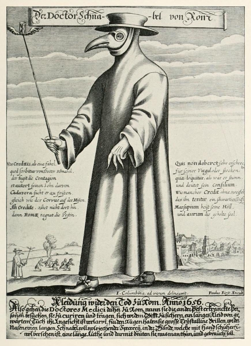 A plague doctor.