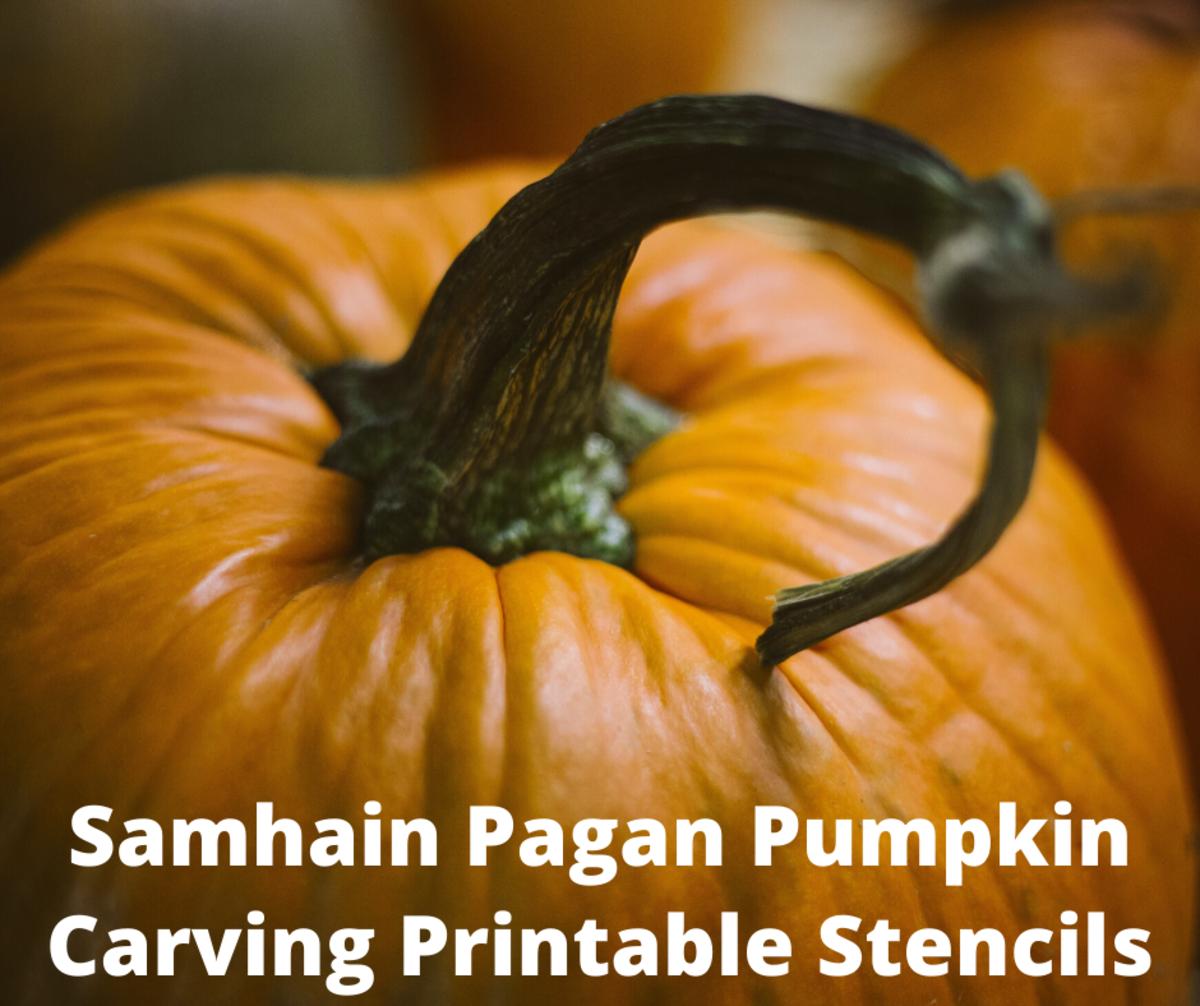 Samhain Pagan Pumpkin Carving Printable Stencils