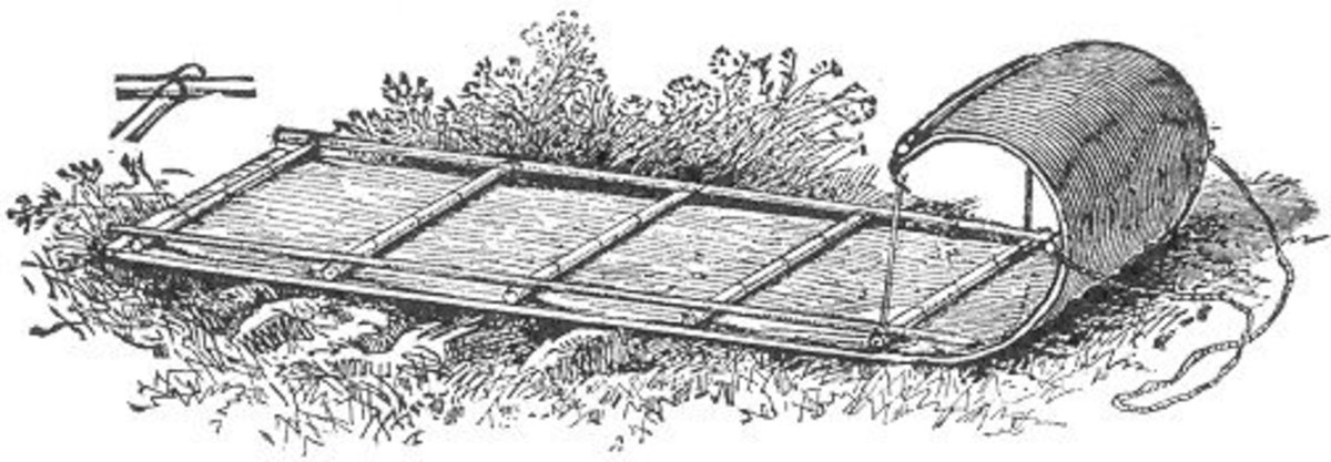 "This image from ""Camp Life in the Woods and the Tricks of Trapping and Trap Making"" by William Hamilton Gibson depicts a toboggan sled."