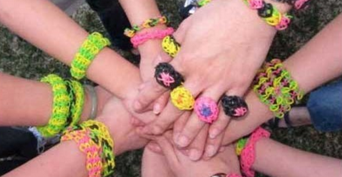 Rubber-band bracelets and rings.