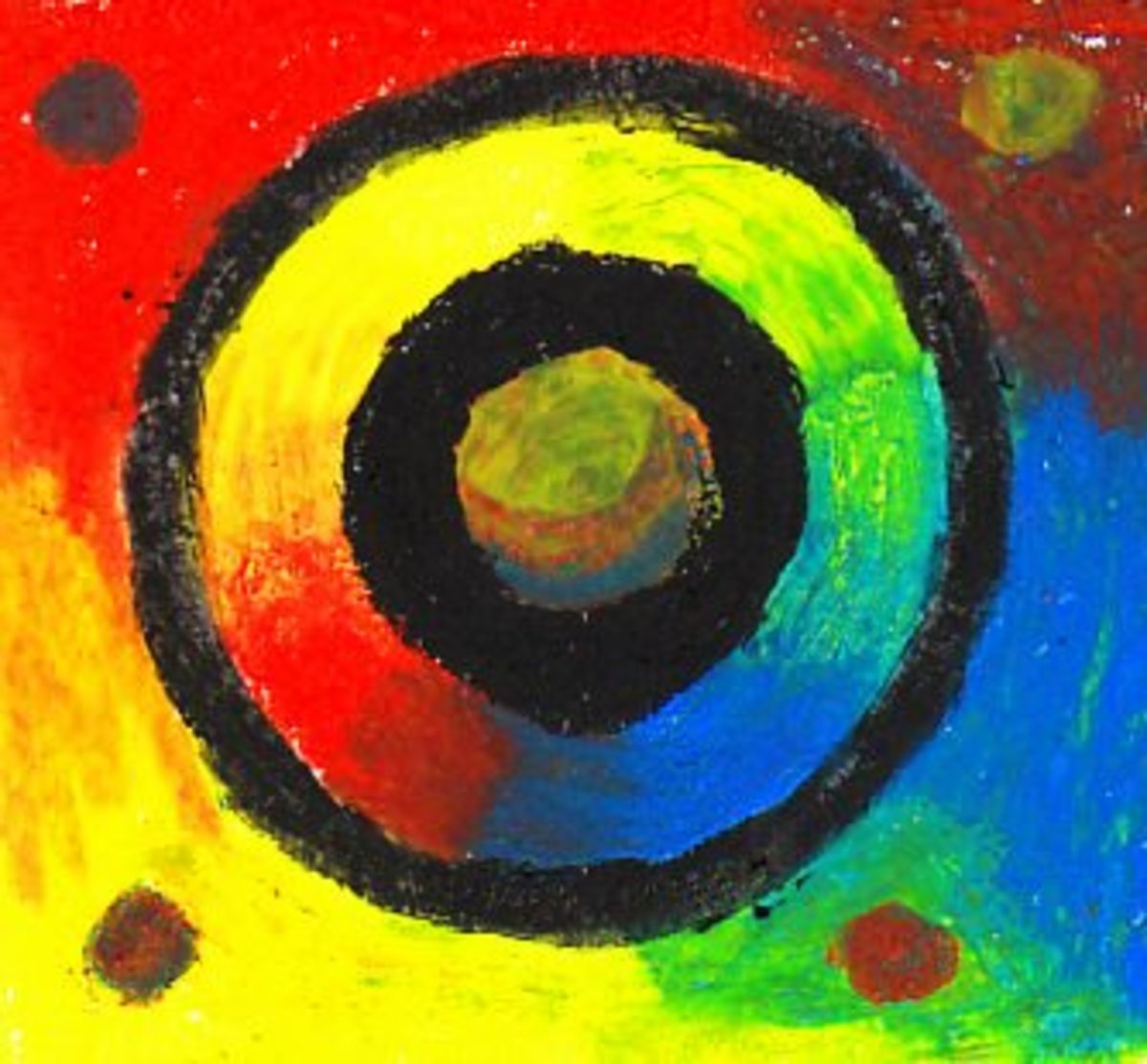 Abstract Wheels created with three primary color Sennelier oil pastels and one black Caran d'Ache Neopastel for the strong black lines.