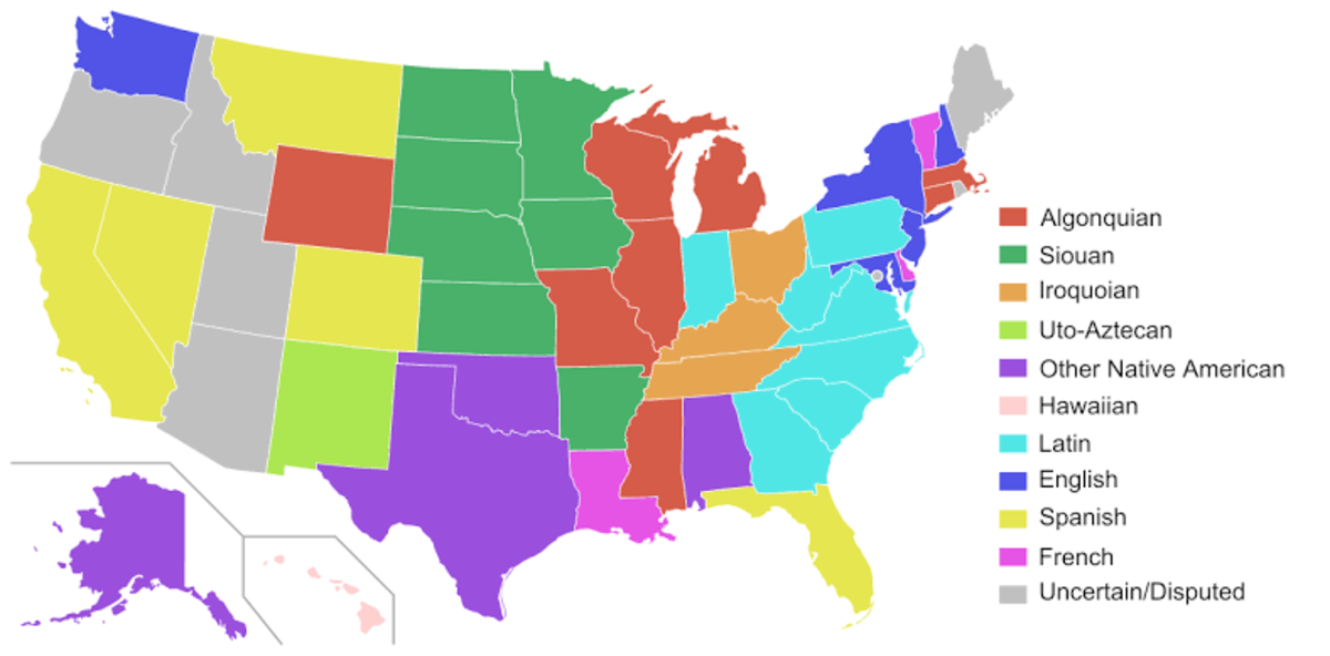 This map shows a breakdown of all of the states' etymologies.