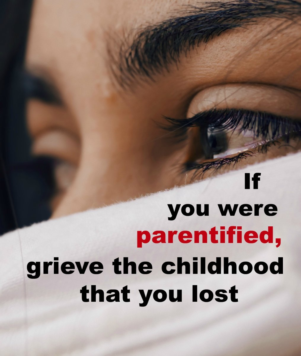When an adult realizes that they were parentified and missed out on a carefree childhood, they may become sad or angry.