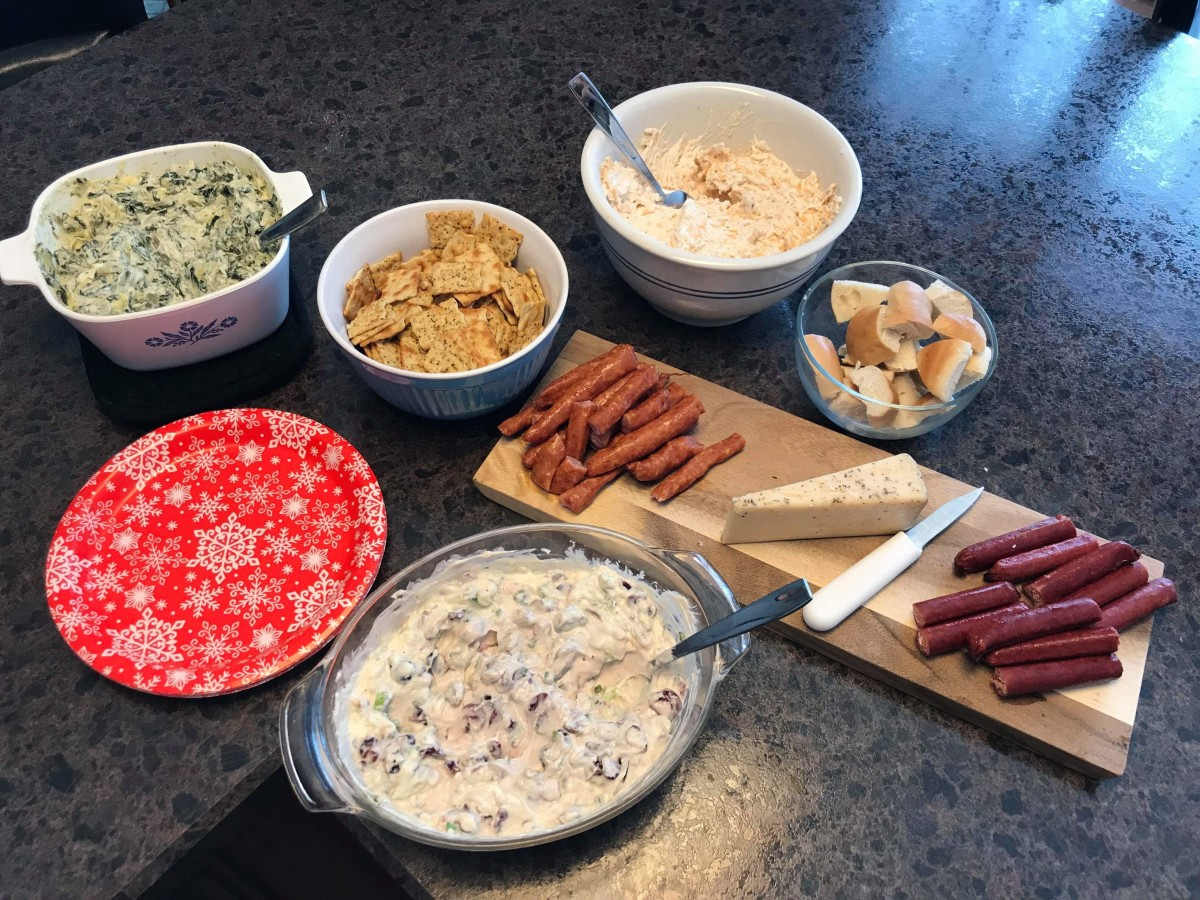 A spread of holiday appetizers.