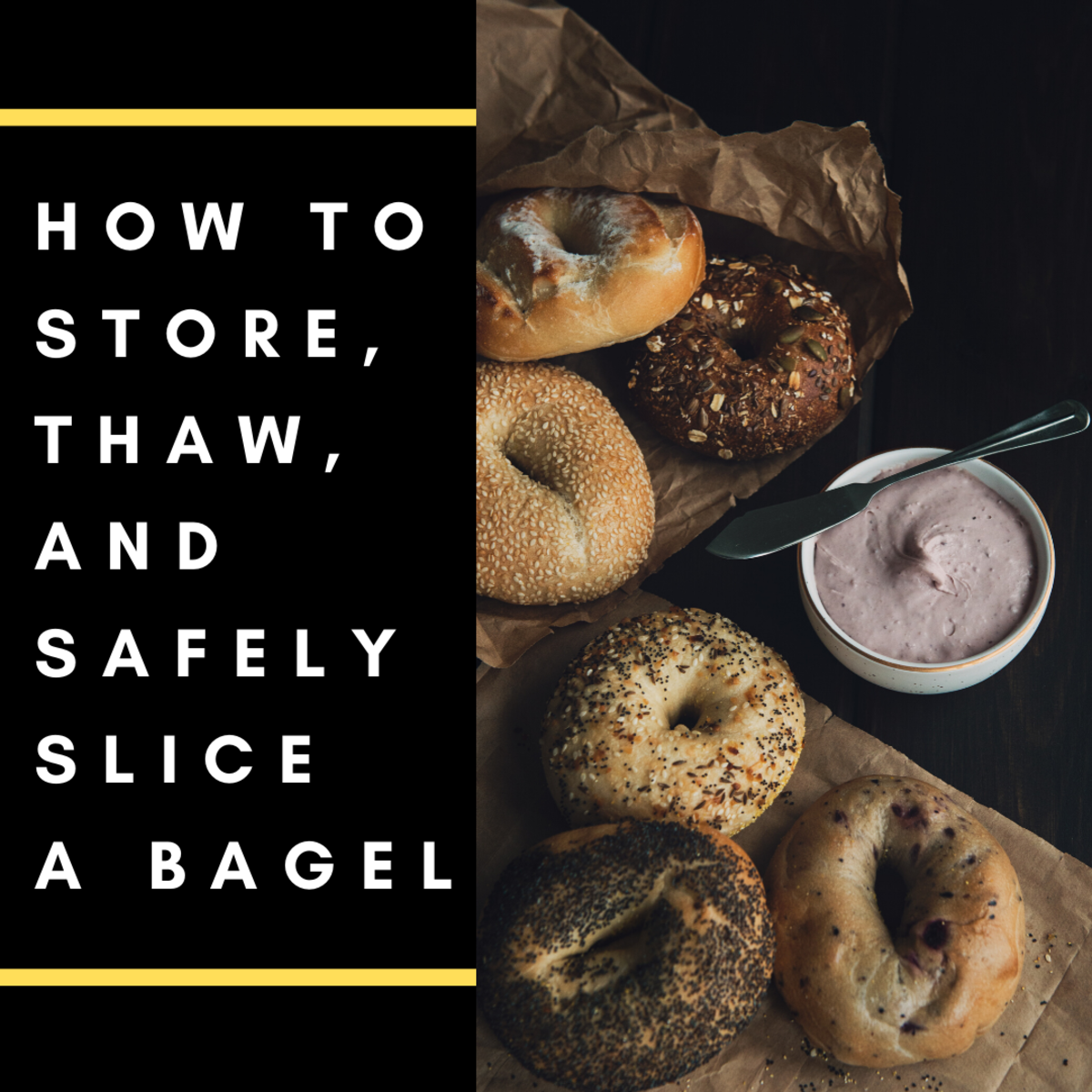 Learn the best methods for slicing and storing a bagel.