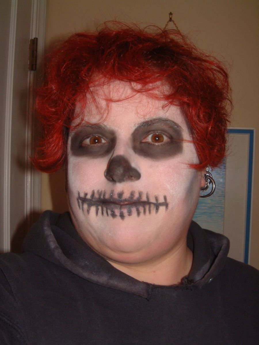 A simple post-modern skull effect done with white face powder, black eyeshadow and black eyeliner pencil (for the mouth)