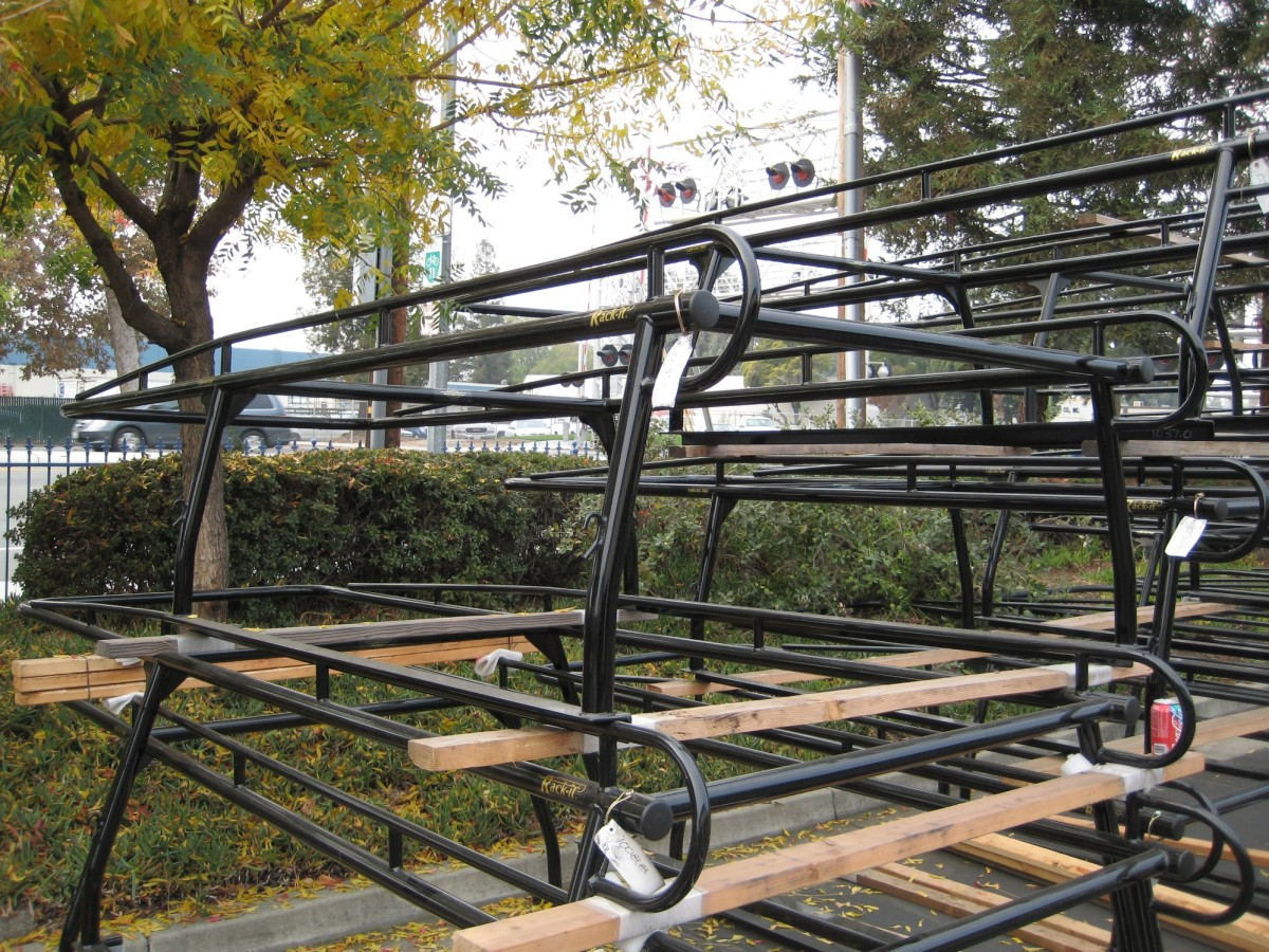 This is a stack of Rack-it brand standard lumber racks. They are one-piece welded racks with a removable rear bar.