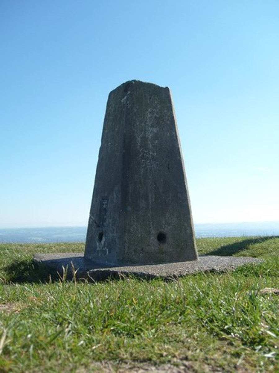 Marker and surveying triangulation point on Garth Mountain.