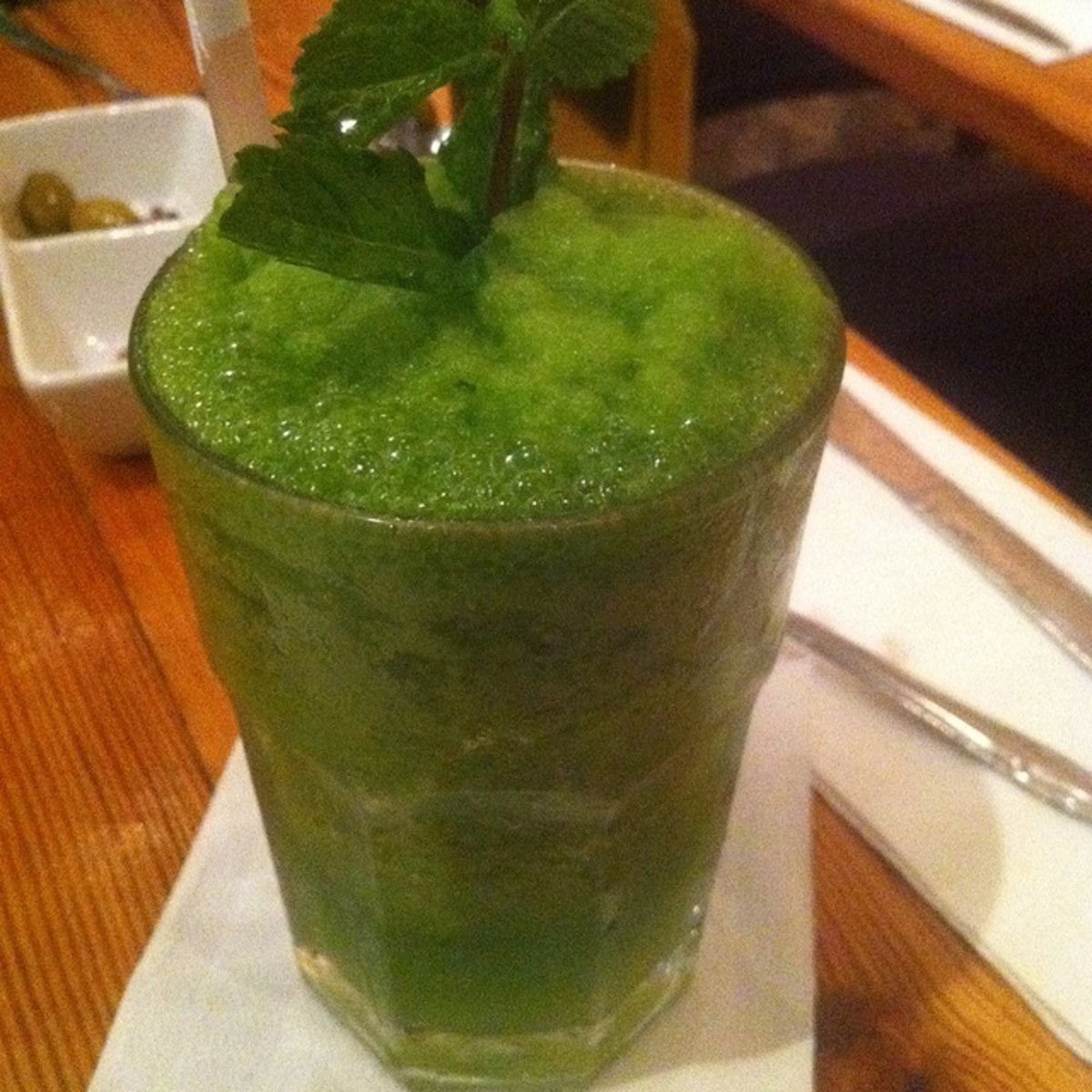 This green lemonade gets its color from mint, but green food coloring can do the trick as well.