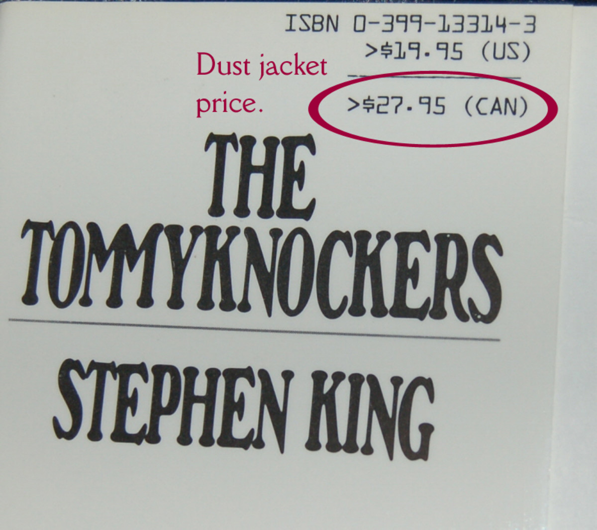 Example of dust jacket price (graphic by AMB)