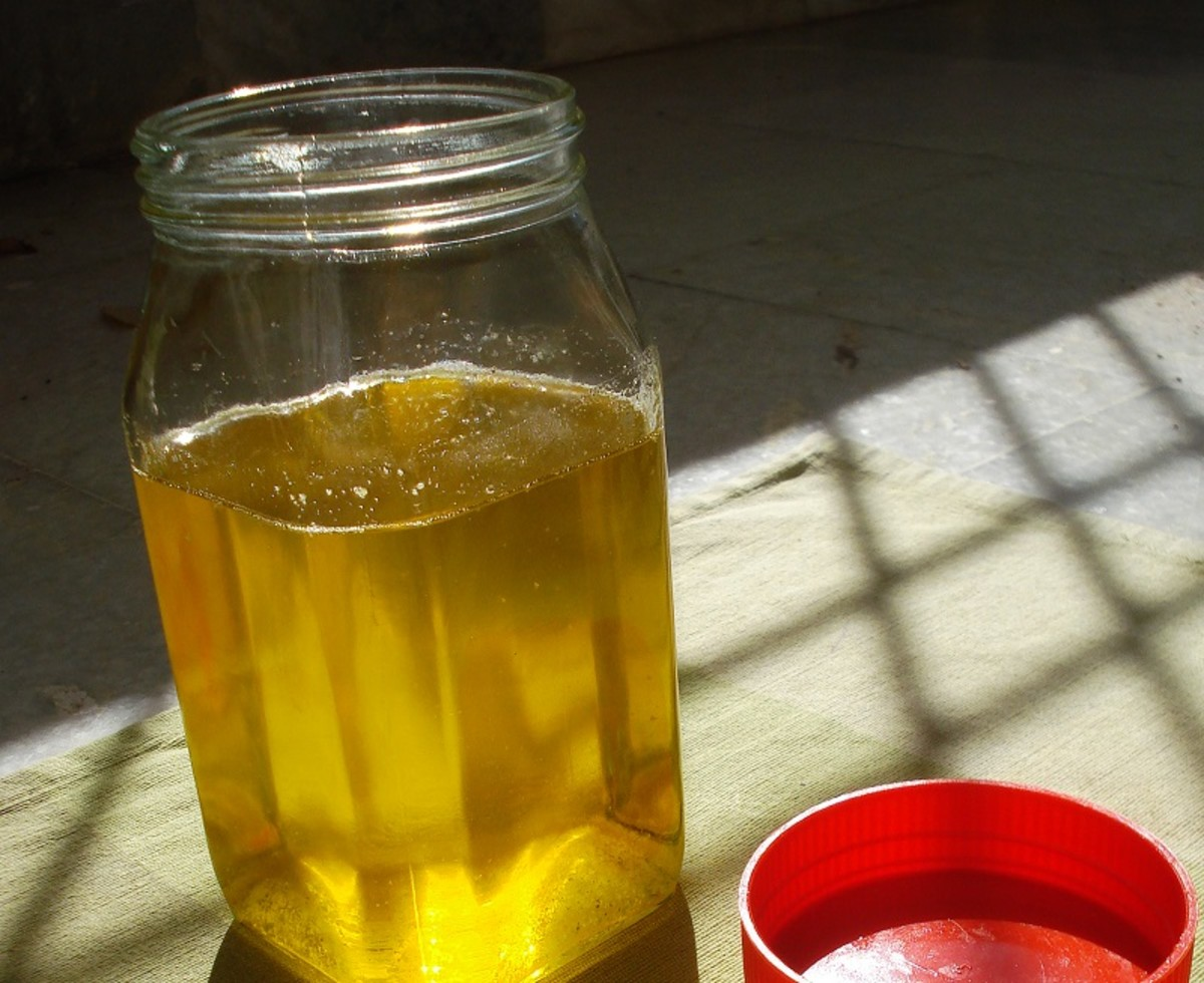 Homemade ghee is made from cow's milk by heating and clarifying unsalted butter.
