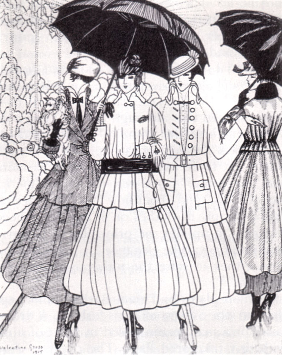 When ladies learned that tuberculosis can live in sputum for an entire day after it's been spat on the ground, the future of the shorter skirt length was assured. Fashion plate from La Gazette du Bon Ton, 1915.