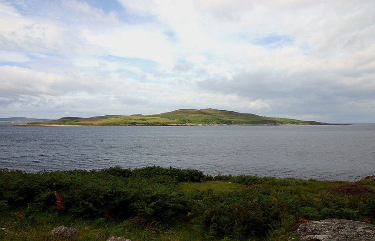 500 acre Gruinard Island seen from the northwest Scottish coast. The island was quarantined for nearly 50 years because of anthrax contamination as a result of biological weapons testing during World War 2.