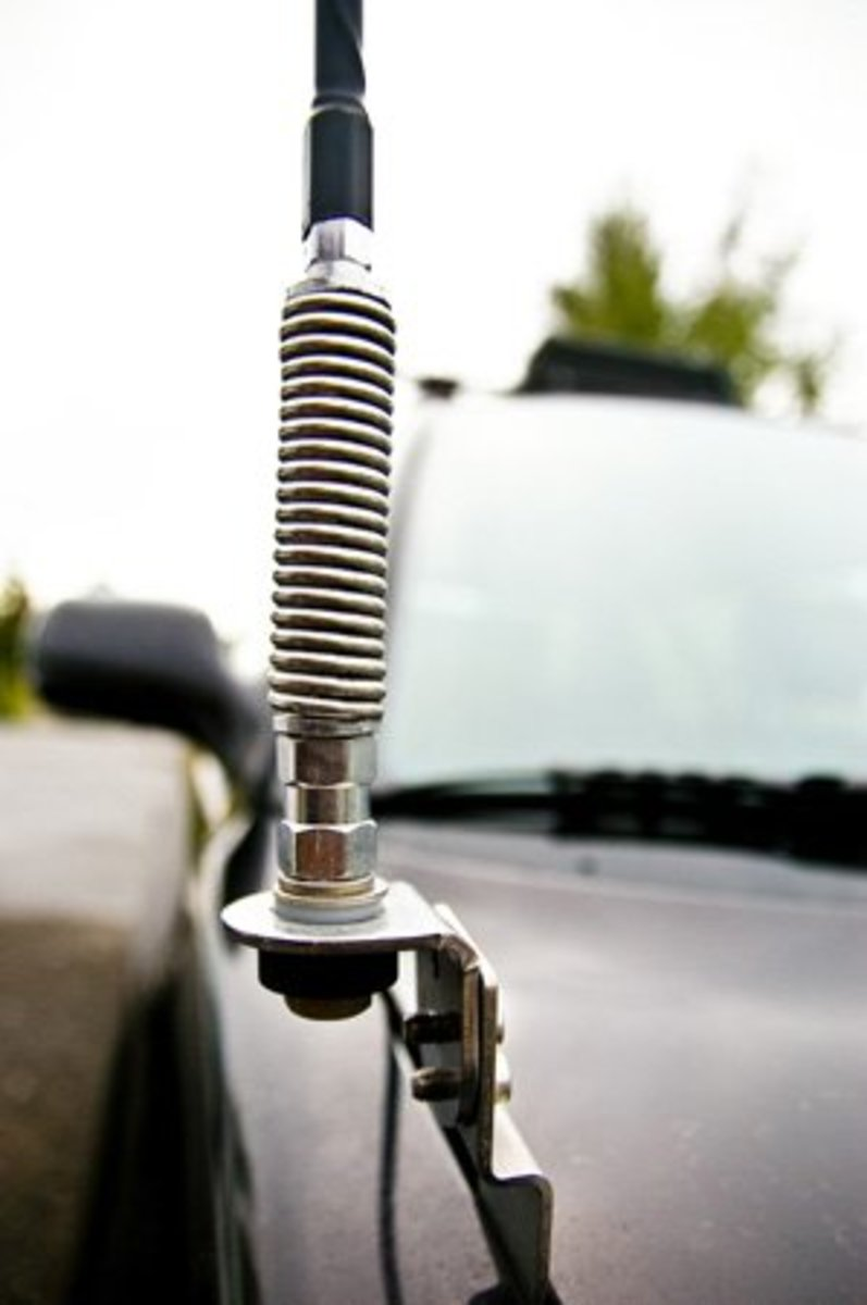Close up of a spring on a CB antenna. Photo courtesy of Andrew at rightchannelradios.com.