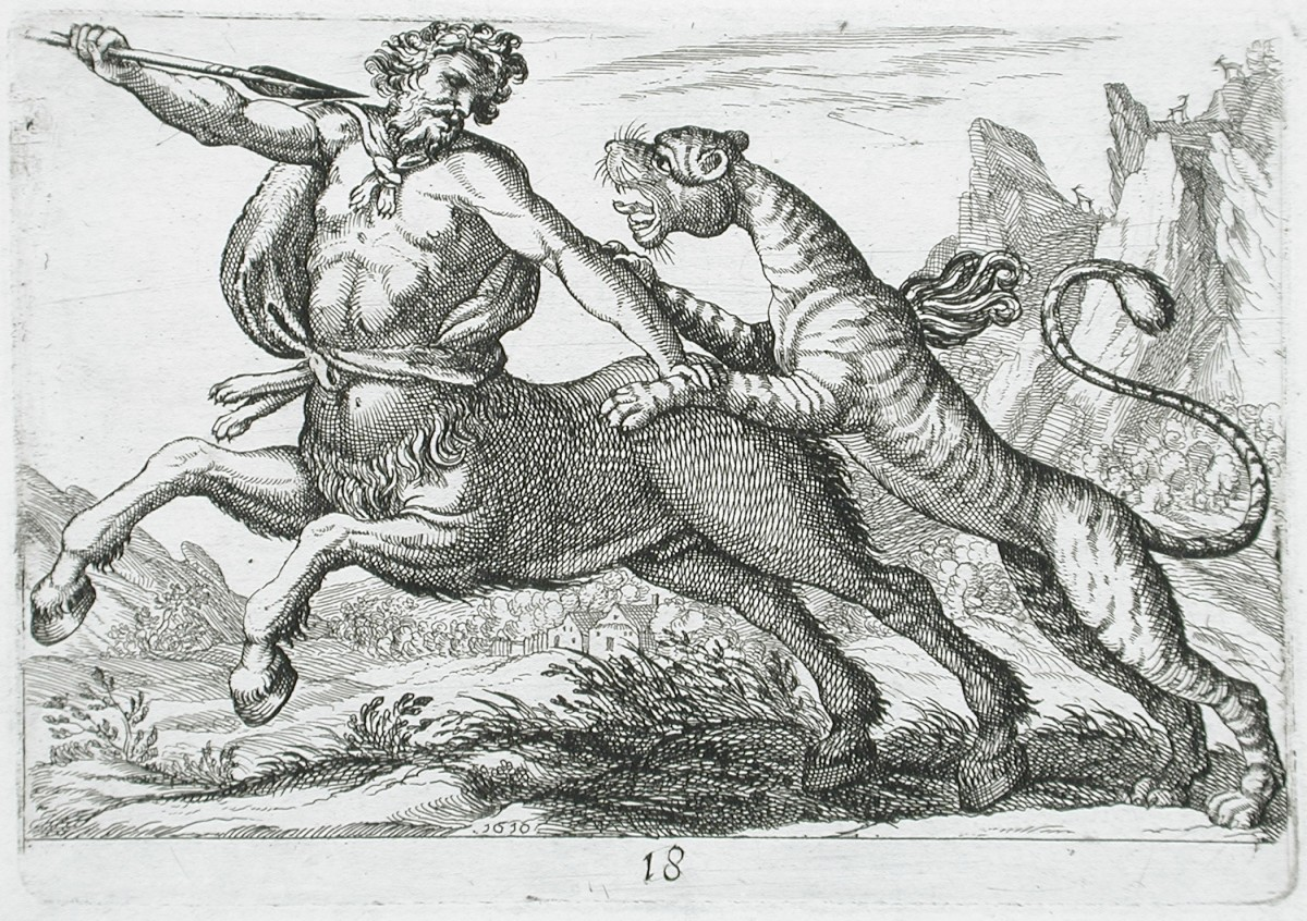 Centaur Fighting a Lion