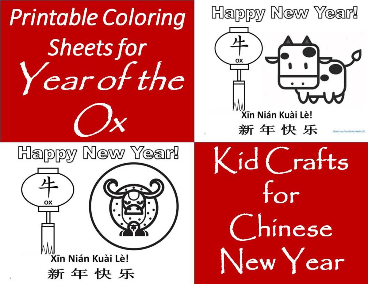 See below for links to 16 coloring sheets for the Year of the Ox.