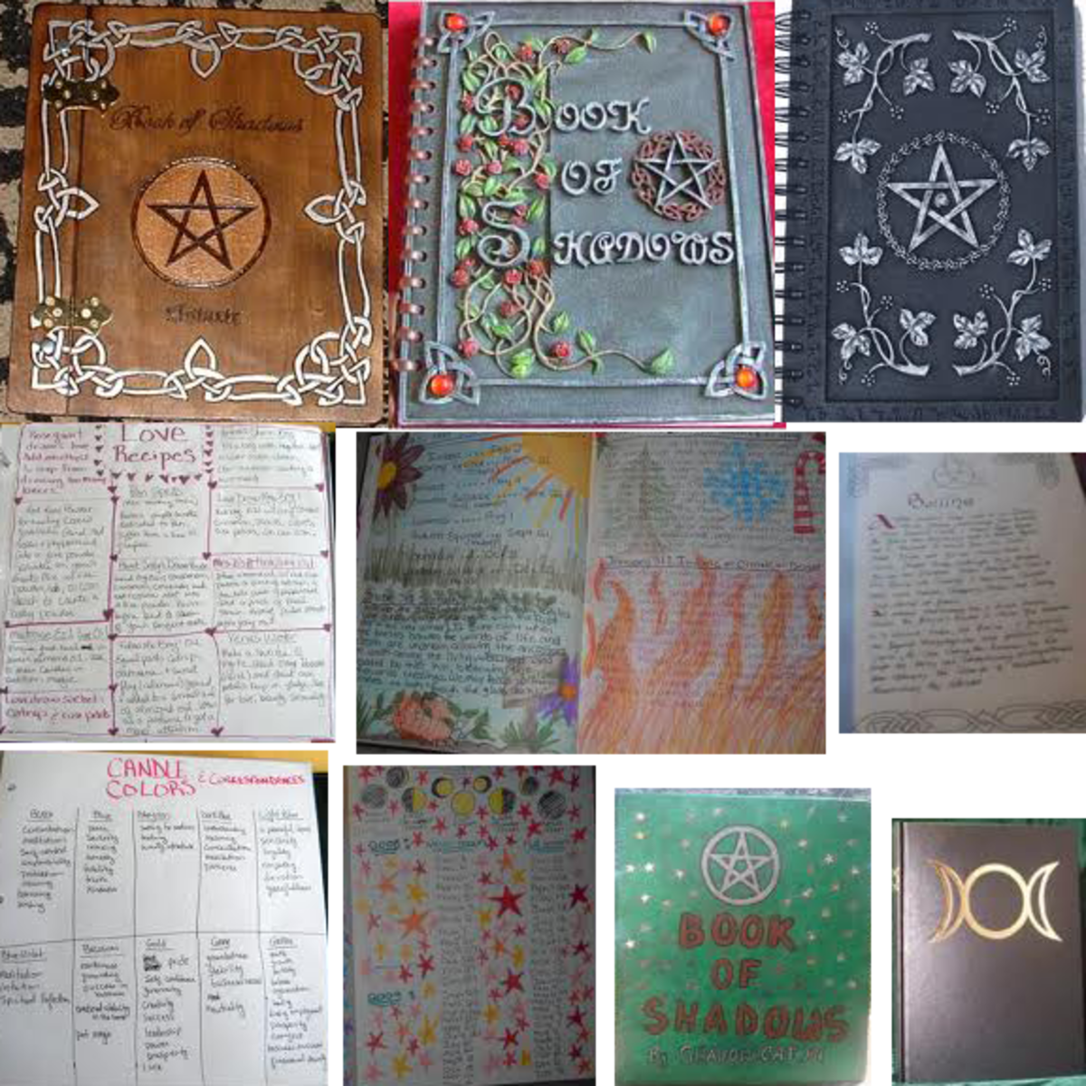 Your Book of Shadows can be simple or very decorative. Pictures and drawings are great to help you remember and to add a personal touch and energy to your Book of Shadows.