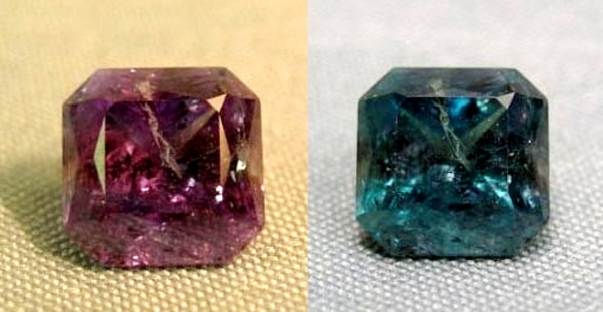 Color-changing gemstones: Emerald by day, ruby by night.