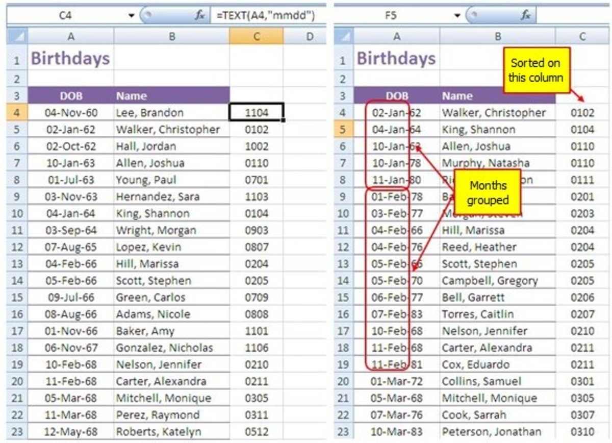 You can sort by month and date only (without the year) in Excel.