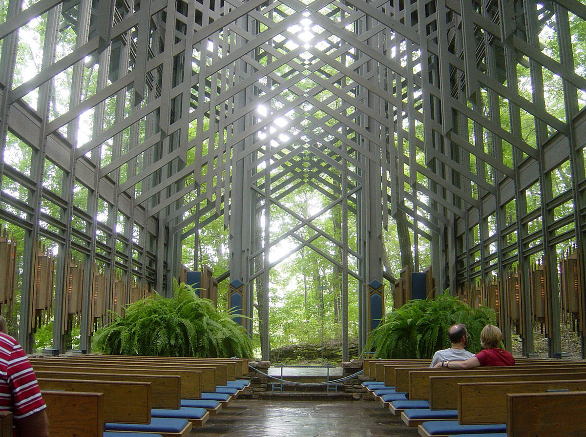 Thorncrown Chapel in Eureka Springs, facing north from entrance.