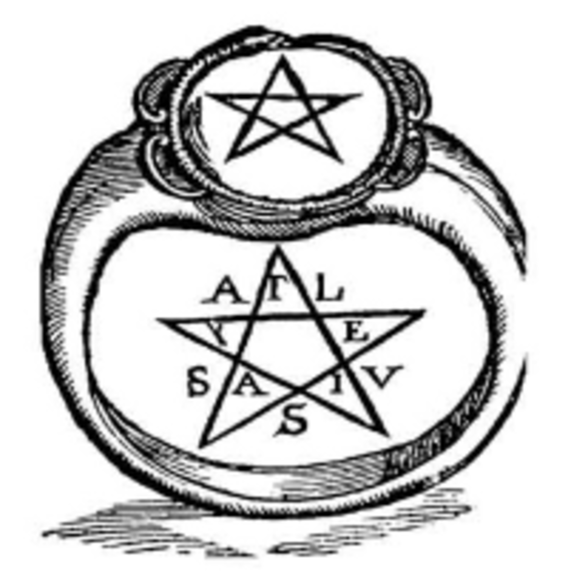 "his is the earliest known pentagram ring. It originates from Crotona Italy circa 525 BCE. This drawing was from taken from the book IMAGINI DEGLI DEI ANTICHI by V. Catari, published in 1647 The letters of the word YGEIA (Greek for ""health"", standard"