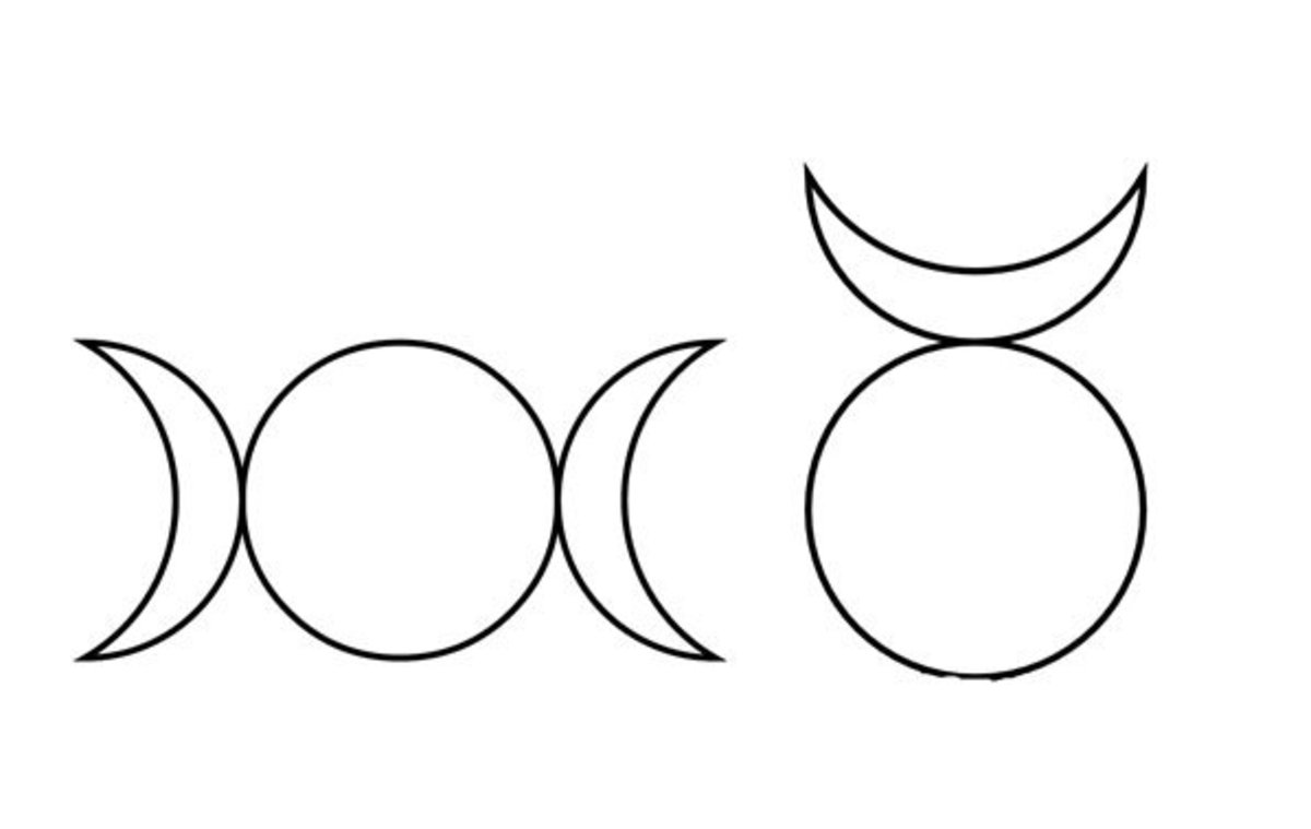 The symbols of the Triple Goddess (left) and the Horned God (right).