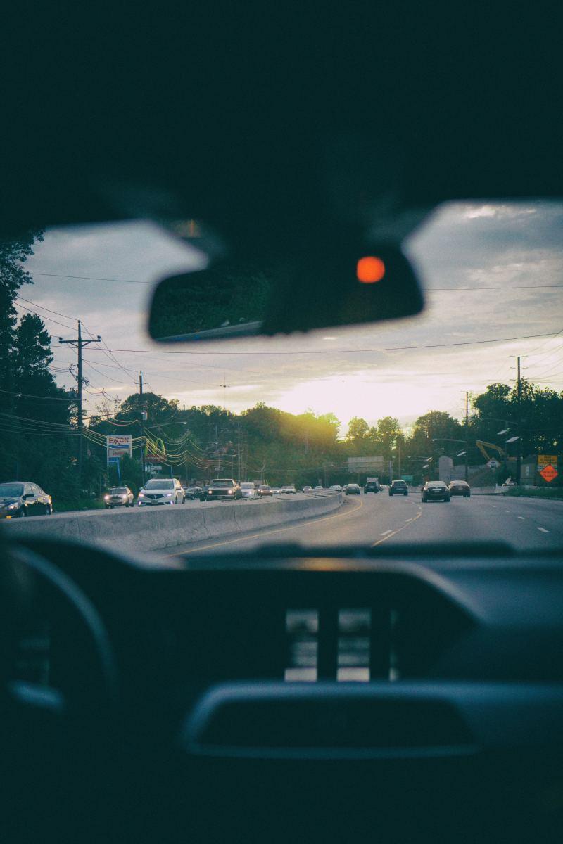 Inside Car Driving on Street